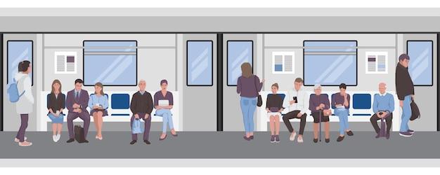 Menschen in einem u-bahn-zug passagiere der u-bahn nahtlose grenze
