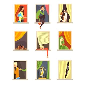 Menschen in fenstern gesetzt, verschiedene situationen in stadtbaufenstern cartoon-vektor-illustrationen