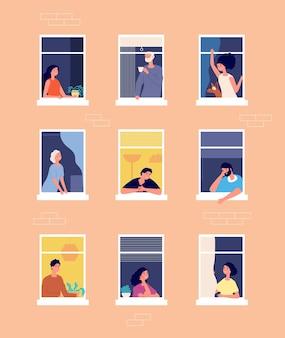Menschen in fenstern. haus außen, begrüßung der nachbarn. selbstisolationszeitraum, frauen männer in der wohnungsnachbarschaftsvektorillustration. außenwohnfenster mit menschennachbarschaft