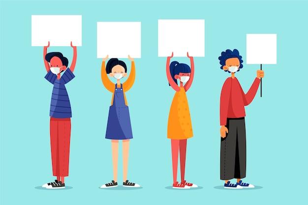 Menschen in gesichtsmasken mit plakaten illustriert