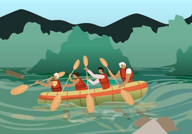 Menschen in kajak in der nähe von rocky shore an sonnigen tag.
