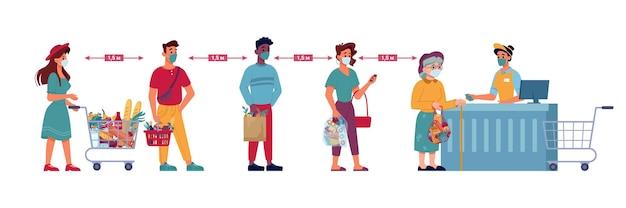 Menschen in lebensmittelgeschäften in die warteschlange stellen, soziale distanz