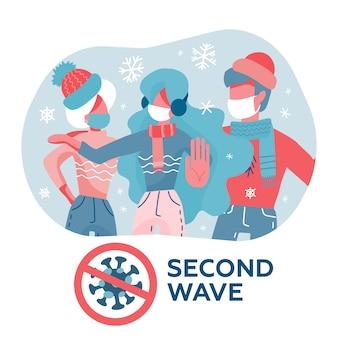 Menschen in masken und warmer kleidung. coronavirus covid-19-pandemiekonzept, zweite quarantänewelle. vektorillustration im flachen stil der karikatur.