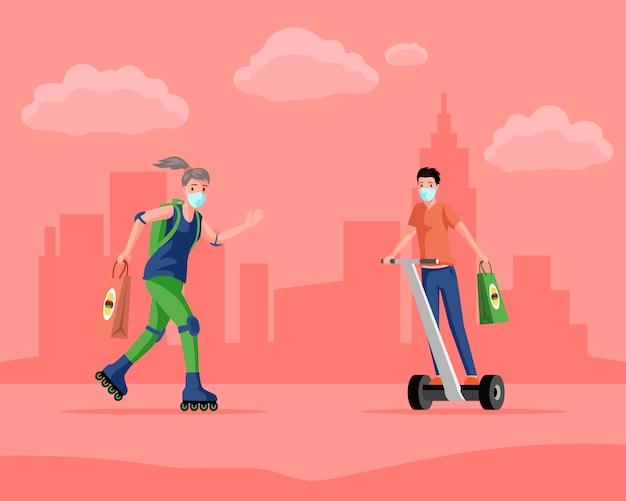 Menschen in medizinischen masken, die auf modernen stadttransporten reiten und fast-food-cartoon-illustration liefern.