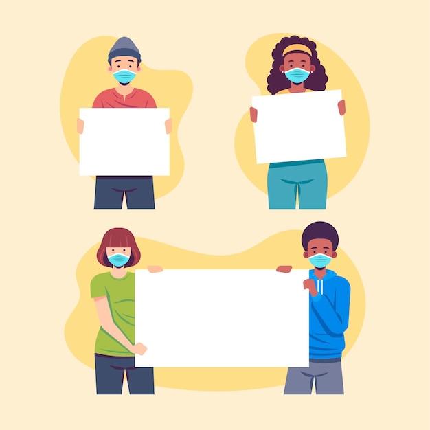 Menschen in medizinischen masken mit plakaten illustriert Kostenlosen Vektoren