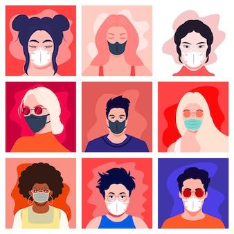 Menschen in medizinischer gesichtsschutzmaske. menschen avatare.