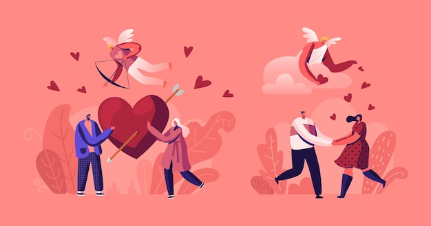 Menschen in romantischer beziehung. paare am datum halten rotes herz mit pfeil. karikatur flache illustration