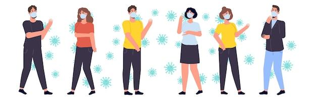 Menschen in schutzmasken. krankheit verhindern, weltverschmutzungskonzept.