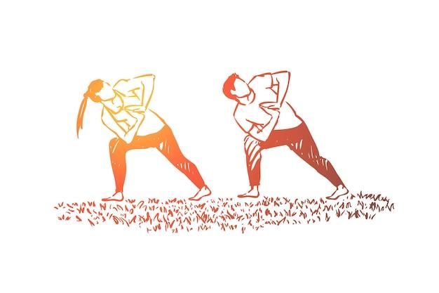 Menschen in sportlicher kleidung, die zusammen trainieren, fitnesstrainer und schülerillustration