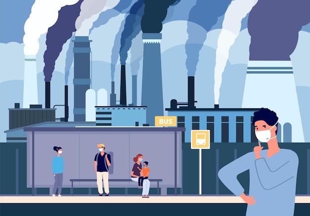 Menschen in staubmasken. bushaltestelle in der nähe von fabriken, industriegebiet mit schmutziger luft. kritische umgebungsbedingungen. luftverschmutzung