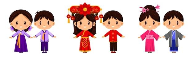 Menschen in traditioneller kleidung. internationale kleidung repräsentiert die kultur der völker auf der ganzen welt