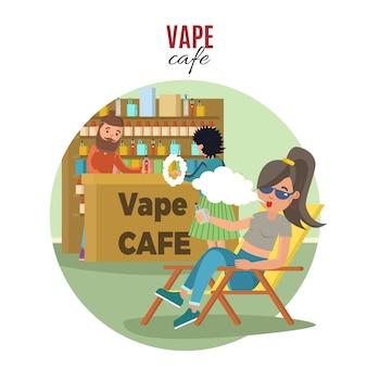 Menschen in vape cafe vorlage