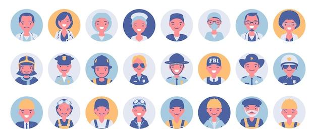 Menschen in verschiedenen berufen avatar big bundle set. mitarbeiter von notdiensten sehen sich symbolen für spiele, online-communitys und webforen gegenüber. vector flache karikaturillustration lokalisiert, weißer hintergrund
