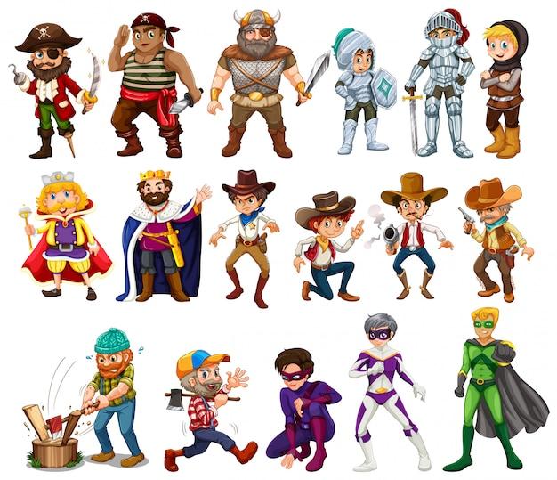 Menschen in verschiedenen kostümen