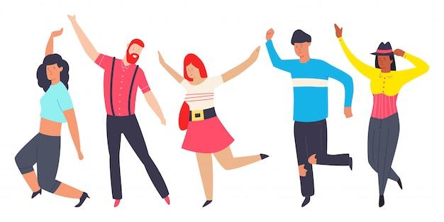 Menschen in verschiedenen posen tanzen. flache karikatur des modernen zeichentrickfilms der männer und frauen lokalisiert