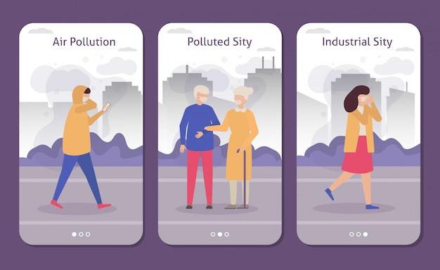 Menschen in verschmutzter industriestadt mit smog, husten menschen, die atemschutzmasken tragen satz von fahnen, flache illustration.