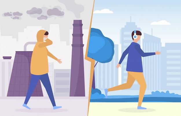 Menschen in verschmutzter industriestadt mit smog, husten mit atemschutzmaske gegen gesunde saubere luft in der ökologisch sicheren stadtflachillustration.