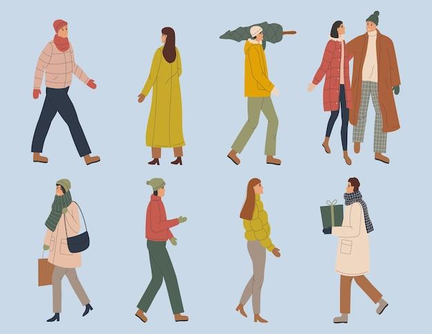 Menschen in warmer winterkleidung