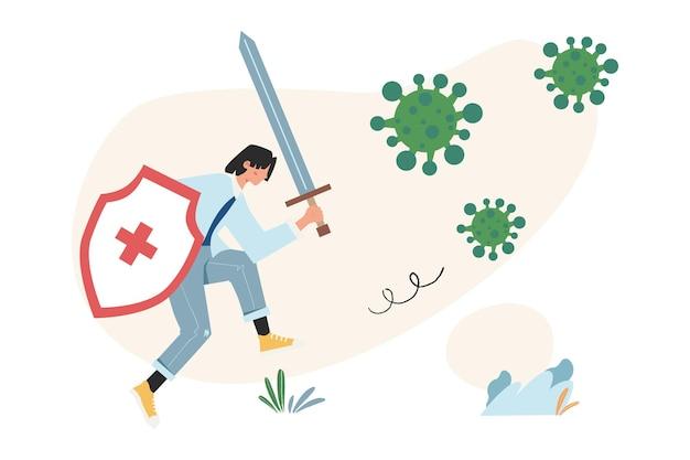 Menschen in weißer medizinischer maske kämpfen gegen viren, um die welt zu schützen