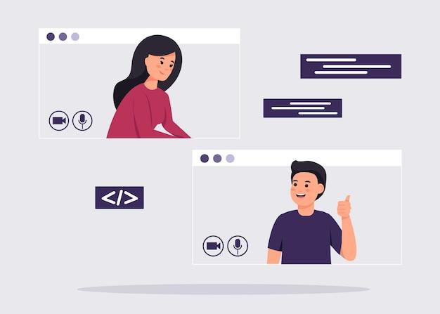 Menschen in windows chatten oder videoanrufe