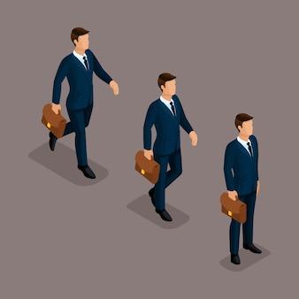 Menschen isometrische 3d, isometrische geschäft, business-mann kleidung bewegung, in eile, ist es wert. das ausgereifte konzept isoliert