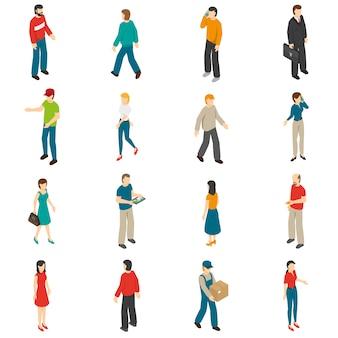 Menschen isometrische icons set