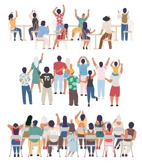 Menschen jubeln sitzend stehend. sportfans, showkonzertpublikum, akademisches auditorium, rückansicht-vektorillustration
