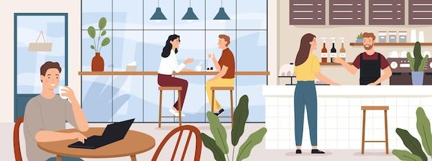 Menschen kaffeehaus. caféinnenraummann und -frau, die kaffee trinken. barista und kunde in cafeteria oder café, vektorkonzept. illustrationscaféinnenraum, mann und frau im restaurant und im kaffee