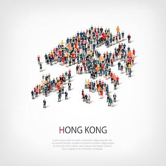 Menschen karte land hong kong