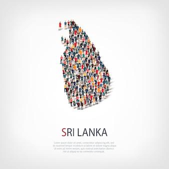 Menschen, karte von sri lanka. menge, die eine landform bildet.
