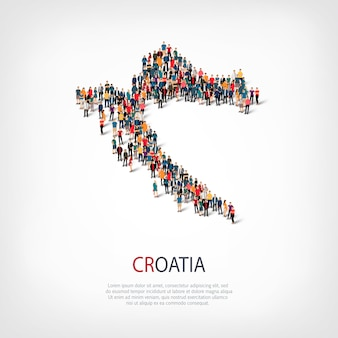 Menschen kartieren land kroatien