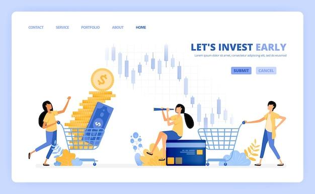 Menschen kaufen anlageinstrumente an geldmärkten, börsen und investmentfonds. das illustrationskonzept kann für die zielseite verwendet werden