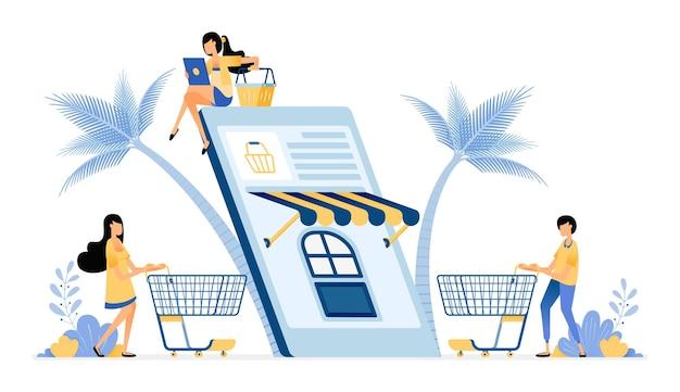 Menschen kaufen mit mobilen e-commerce-apps für den täglichen bedarf ein
