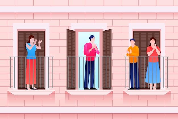 Menschen klatschen auf balkonkonzept