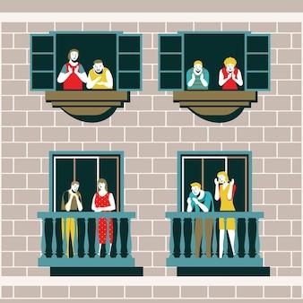 Menschen klatschen zusammen auf ihren balkonen