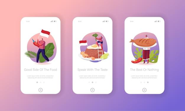 Menschen kochen fermentierte hausgemachte lebensmittel mobile app seite onboard screen template.