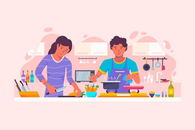 Menschen kochen konzept