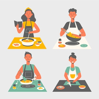 Menschen kochen sammlung