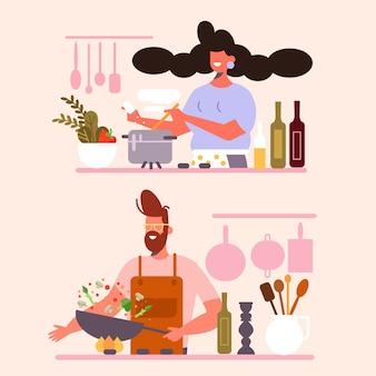 Menschen kochen thema