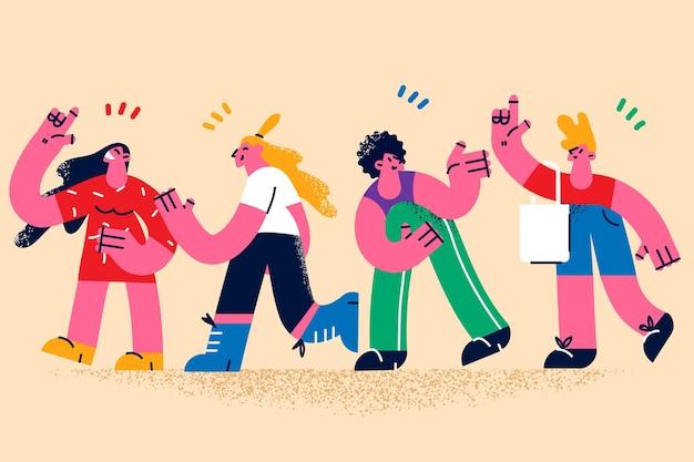 Menschen kommunizieren und begrüßen einander konzept
