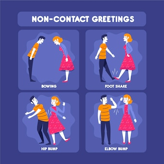 Menschen kontaktlose grüße auf verschiedene weise