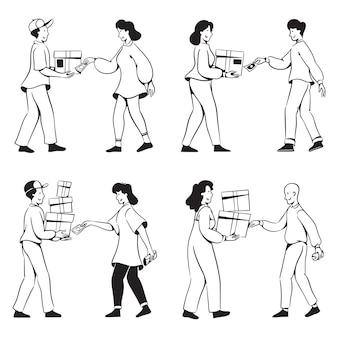 Menschen kritzeln aktivitäten bargeld und lieferung