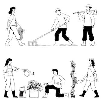 Menschen kritzeln gartenaktivitäten