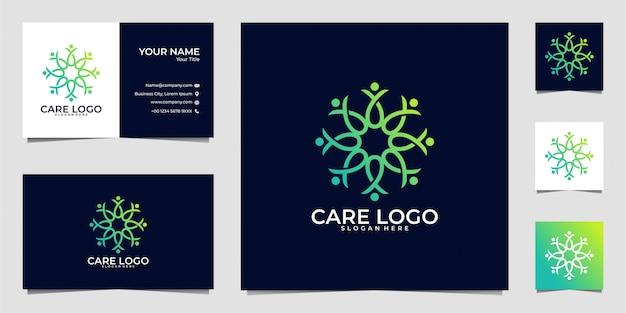 Menschen kümmern sich geometrie logo design und visitenkarte