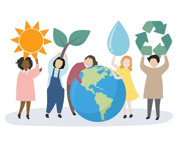 Menschen kümmern sich um die welt und die umwelt