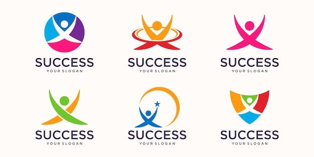 Menschen kümmern sich um erfolg gesundheit leben logo vorlagensymbole