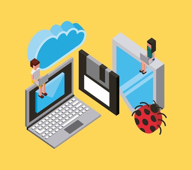 Menschen laptop schutz antivirus