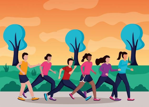 Menschen laufen aktivität