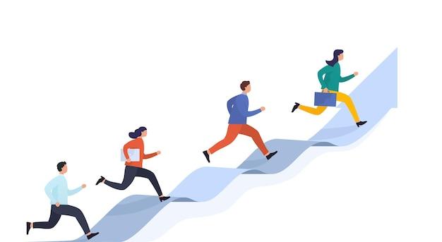 Menschen laufen auf pfeil, der das ziel erreicht. konzept karriereerfolg, startup und geschäftsentwicklung. eine gruppe von spezialisten verschiedener berufsstufen bewegt sich durch hindernisse.