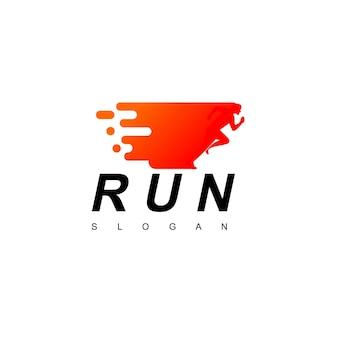 Menschen laufen logo-design-vorlage
